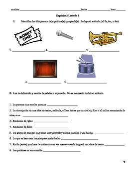Realidades 3 Ch.2 vocab quiz/practice, theater and dance vocabulary