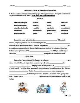 Realidades 3 Ch. 5 vocab quiz, reading comp. practice, job