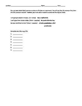 Realidades 3 Ch 6 grammar review packet - future, future perfect, DO IO pronouns