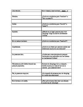 Realidades 3: Chapter 1 - looping speaking activity with camping vocab