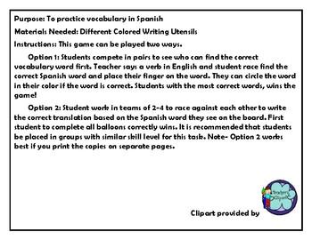 Realidades 3 Chapter 2 Vocabulary Game BINGO de Globos