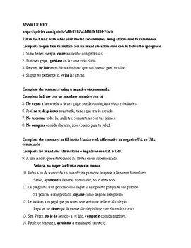 Realidades 3, Chapter 3-4. Commands tú, Ud., Uds. with Quizizz link Test