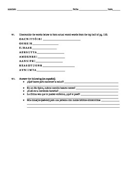 Realidades 3 Chapter 3 - Nutrition vocab assignment, sub packet, bookwork