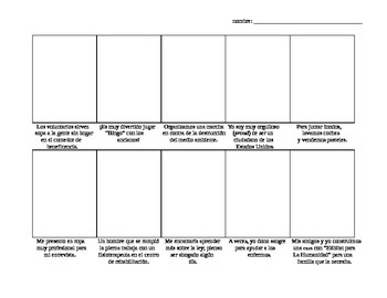 Realidades 3, Chapter 5 Comic Strip - drawing activity w/ community vocab