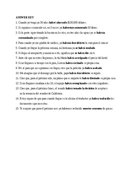 Realidades 3, Chapter 6. Perfect future. Quiz / Activity #1
