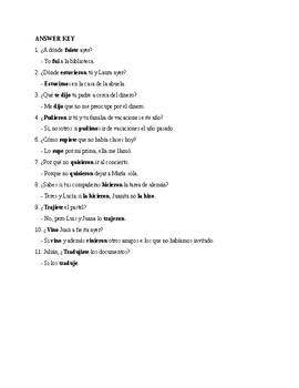 Realidades 3, Chapter 8. A ver si recuerdas. Verbos con cambios en el preterito