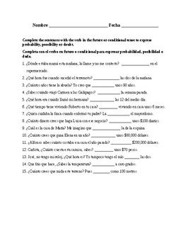 Realidades 3, Chapter 8. Future or conditional of probability. Quiz / Activity