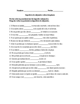 Realidades 3, Chapter 8. Imperfect subjunctive irregular verbs. Quiz / Activity