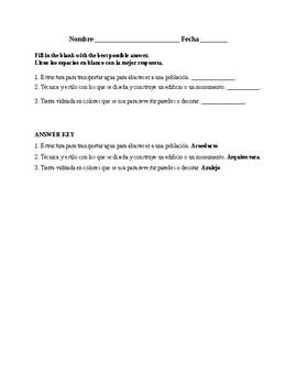 Realidades 3, Chapter 8. Vocabulary # 1. Quiz / Activity