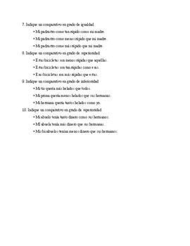 Realidades 3, Chapter 2. Comparatives. Quiz / Activities