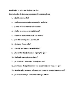 Realidades 3 Unit 4 Vocabulary Practice