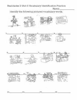 Realidades 3 Unit 5 Vocabulary Identification Practice