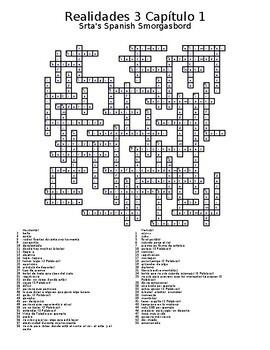 Realidades 3 Vocabulary Crossword Capítulo 1
