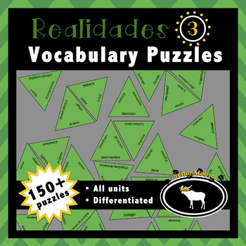 Realidades 3 Spanish Vocabulary Puzzles (Entire Textbook)