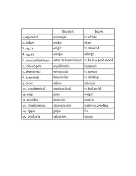 Realidades 3 Word Scramble- Capítulo 3