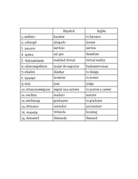 Realidades 3 Word Scramble- Capítulo 6
