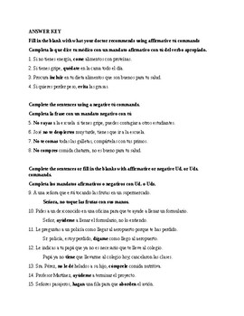 Realidades 3, chapter 3-4. Commands tú, Ud. Uds. Exam