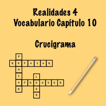 Realidades 4 Vocabulary Crossword Chapter 10