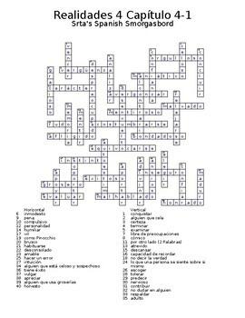 Realidades 4 Vocabulary Crossword Chapter 4