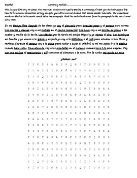 Realidades 4A Reading - Wordsearch - Translation - Spanish