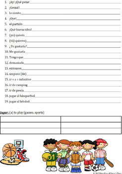 Spanish 1  Free Time Fill in the Blank (Los Pasatiempos)