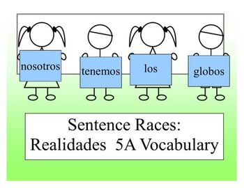 Realidades 5A Sentence Race Game (Spanish 1)