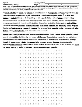 Realidades 5B Reading - Wordsearch - Translation - La Familia & Restaurant