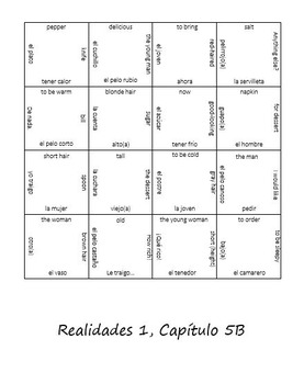 Realidades 5B Vocab Puzzle (Level One)