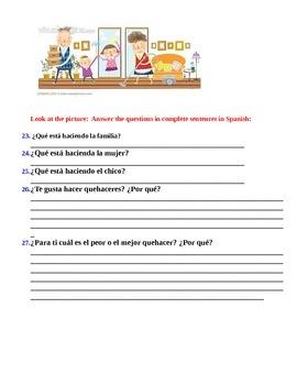 Realidades 6A Present progressive w/chores quiz and dictation