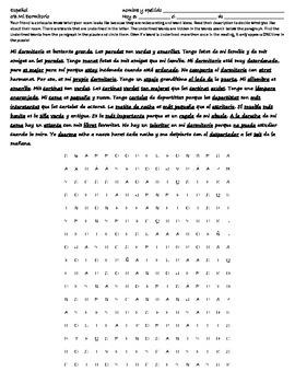 Realidades 6A Reading - Wordsearch - Translation - Mi Dormitorio