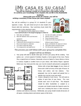 Realidades 6A and 6B House Project Description