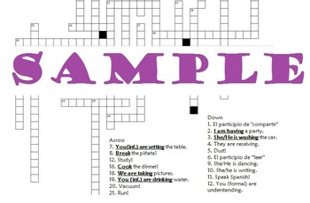 Realidades 6B Grammar Crossword Puzzle (Commands and Present Progressive)