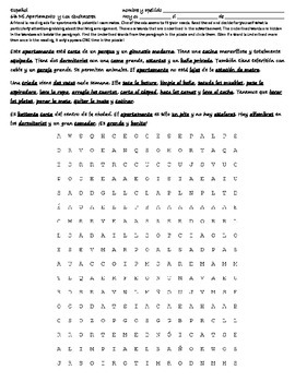 Realidades 6B Reading - Wordsearch - Translation - Apartamento / Quehaceres