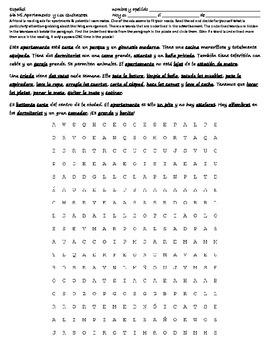 Realidades 6B Reading - Wordsearch - Translation - Apartam