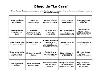"Realidades 6B Spanish House and Chores ""Bingo"""