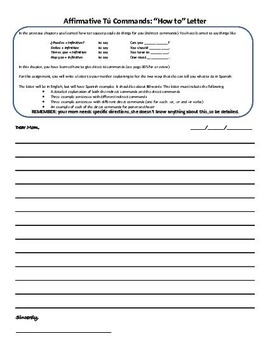 Realidades 6B affirmative tu commands metacognitive activity letter to mom