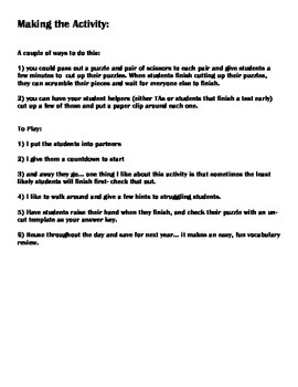 Realidades 8A vocabulary puzzle translations