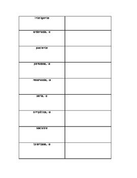 Realidades A-Chapter 1B Vocab List (Basic Adjectives)