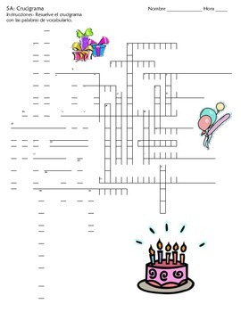 (Realidades B Ch. 5A) Vocabulary Crossword Puzzle- Birthday Party