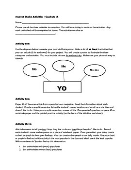 Realidades Chapter 1A Student Choice Activities