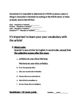 Spanish I Realidades 1B Editable Study Guide - Adjectives and word order