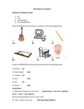 Realidades I: 1B Grammar Quiz (articles & word order)