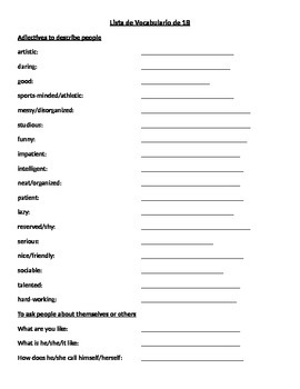Realidades I: 1B Vocab List