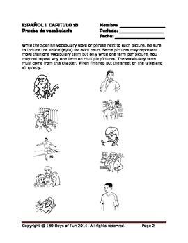 Realidades I, 1B Vocabulary Quiz