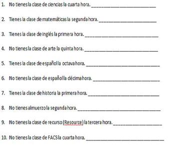 Spanish Realidades 1 2A Ordinal Number/Class Schedule Oral Activities