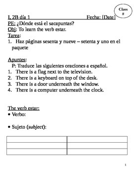 Realidades I, 2B Chapter Lesson Plans