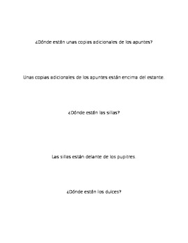 Spanish Realidades 1 2B Grouping Cards/Activity with Prepositions and Estar