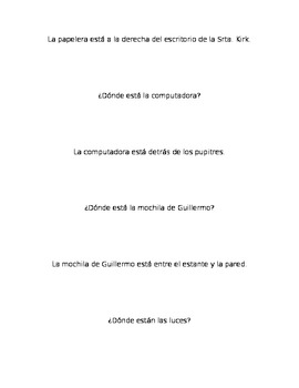 Spanish Realidades 1 2B Grouping Cards/Activity with Prepo