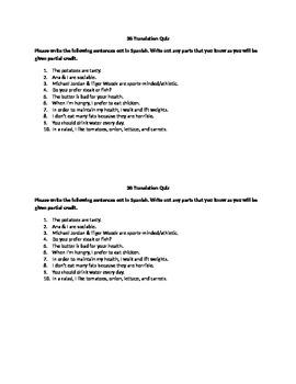 Realidades I: 3B Translation Quiz