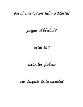 Spanish Realidades 1 4A Activity with Interrogatives